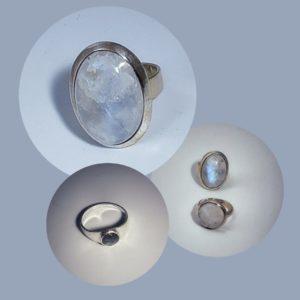 Silberringe mit Mondstein